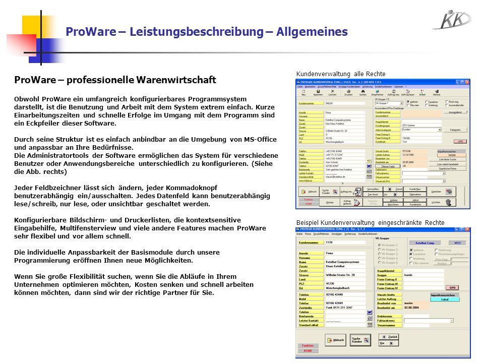 ProWare – Leistungsbeschreibung – Allgemeines