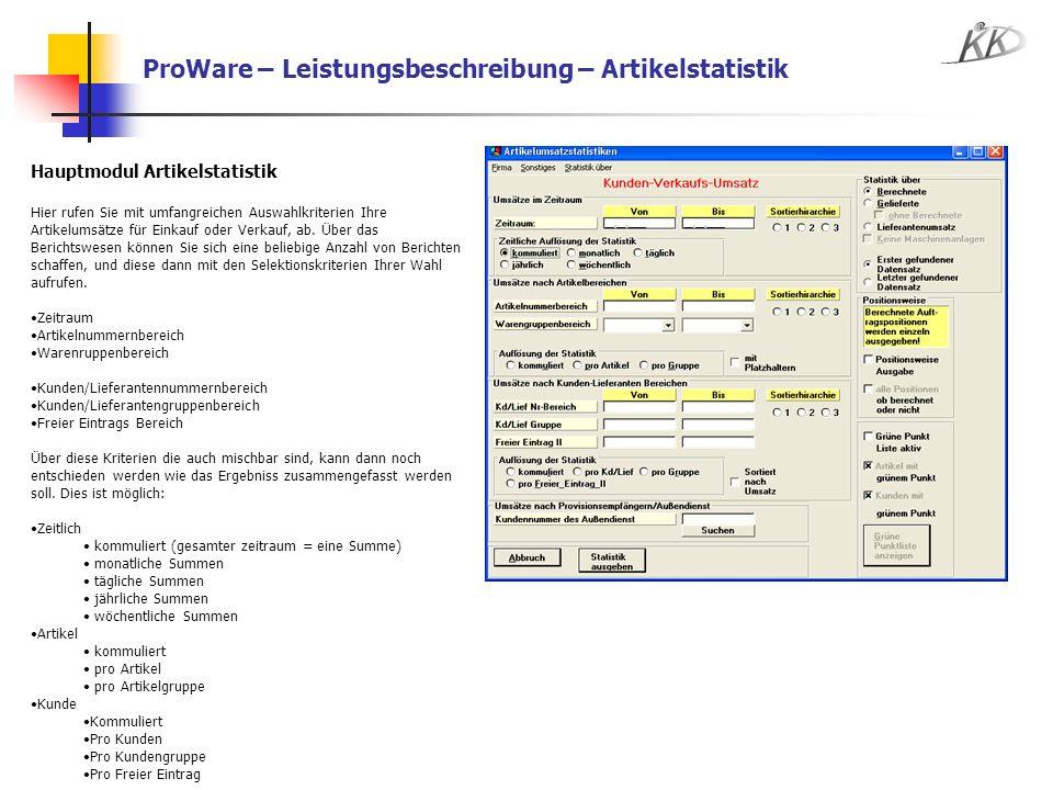 ProWare – Leistungsbeschreibung – Artikelstatistik