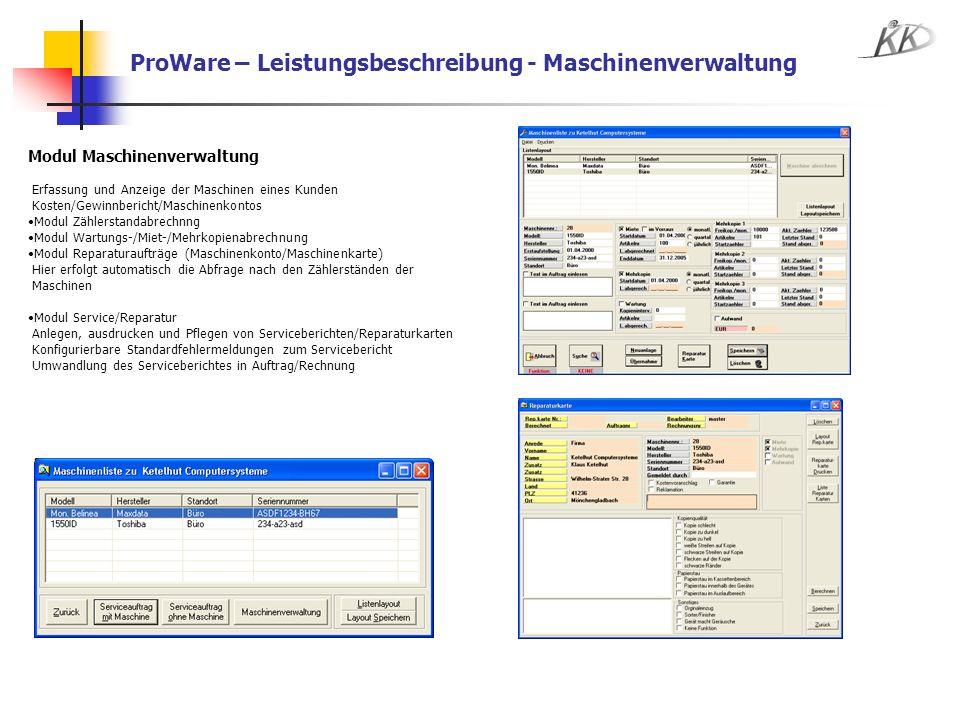 ProWare – Leistungsbeschreibung - Maschinenverwaltung