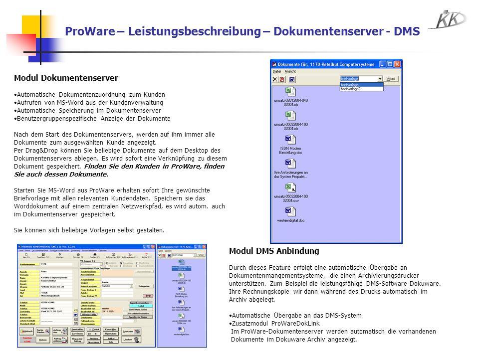 ProWare – Leistungsbeschreibung – Dokumentenserver - DMS