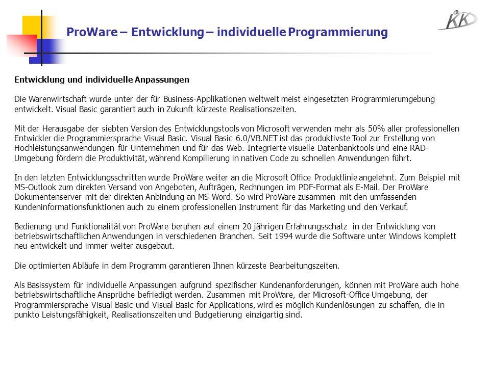 ProWare – Entwicklung – individuelle Programmierung