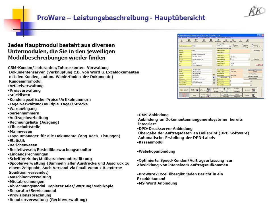 ProWare – Leistungsbeschreibung - Hauptübersicht