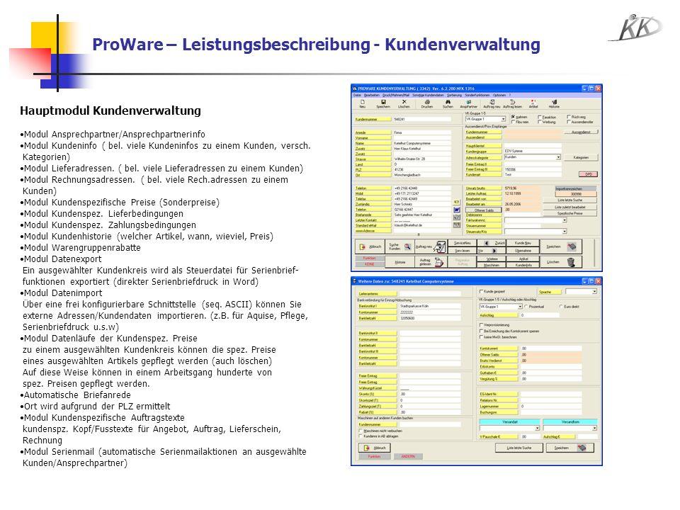 ProWare – Leistungsbeschreibung - Kundenverwaltung
