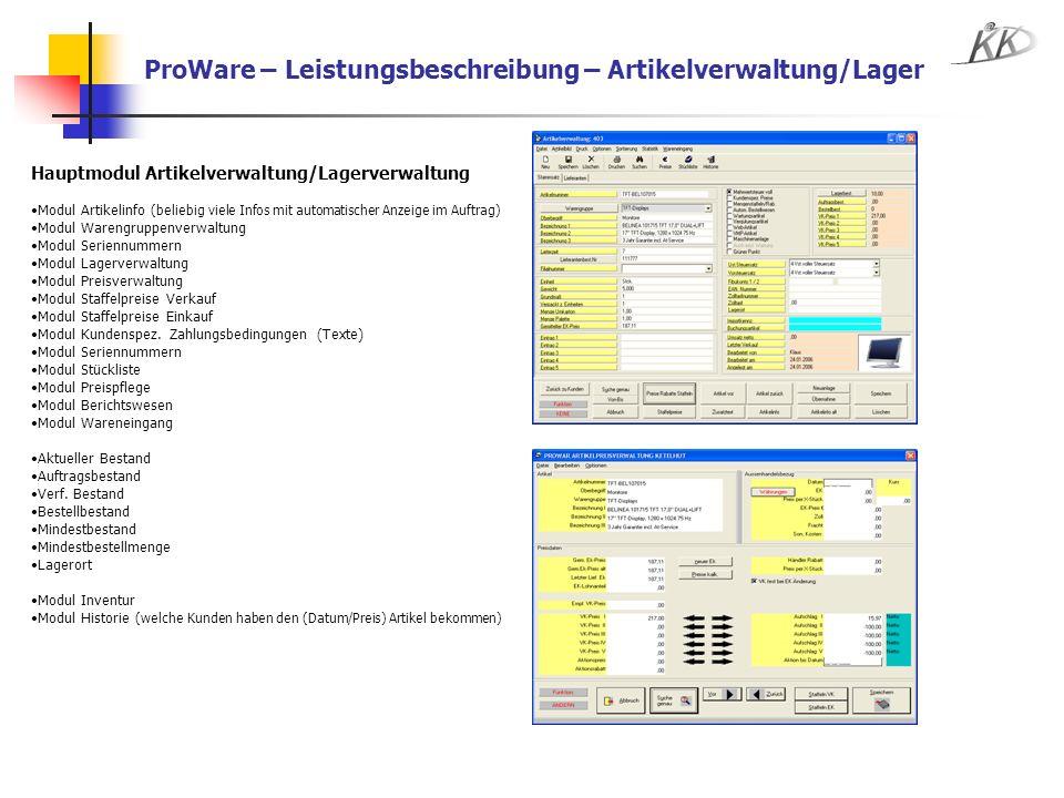 ProWare – Leistungsbeschreibung – Artikelverwaltung/Lager