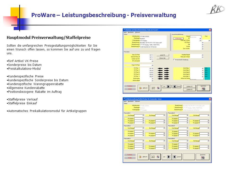 ProWare – Leistungsbeschreibung - Preisverwaltung