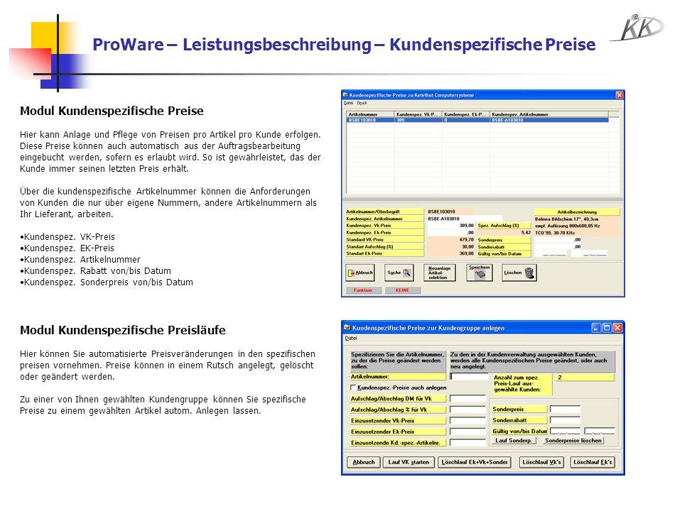 ProWare – Leistungsbeschreibung – Kundenspezifische Preise