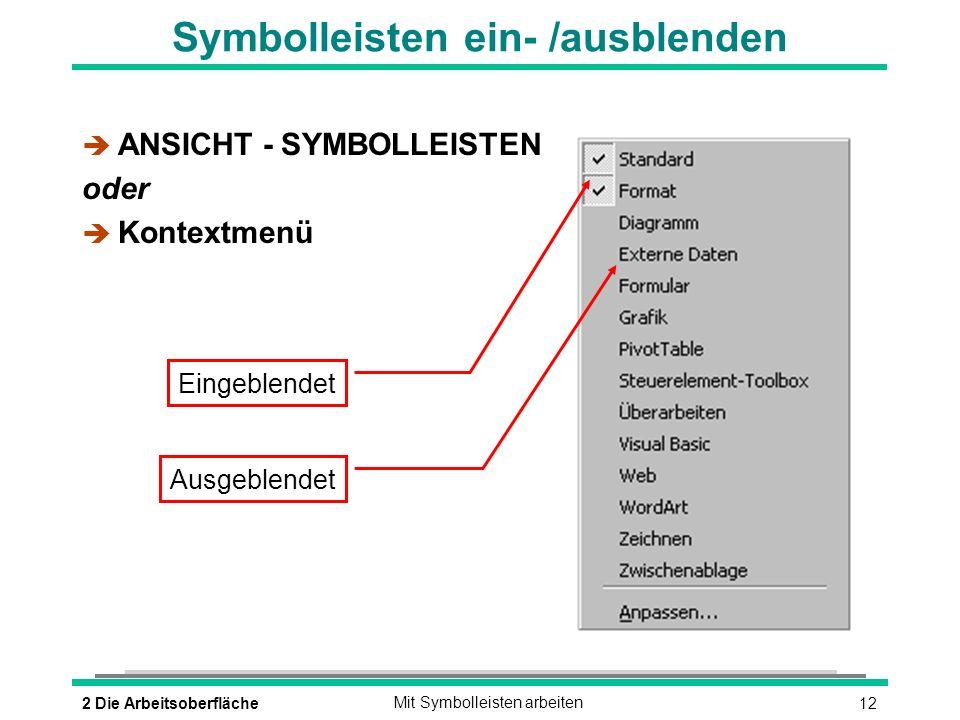 Symbolleisten ein- /ausblenden