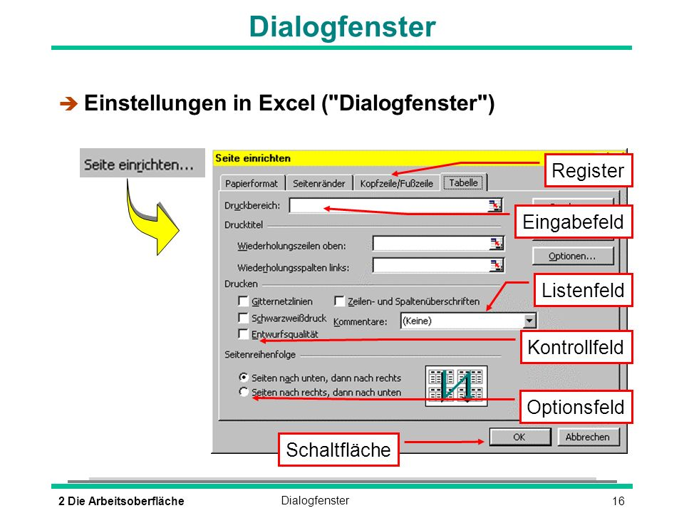Dialogfenster Einstellungen in Excel ( Dialogfenster ) Register