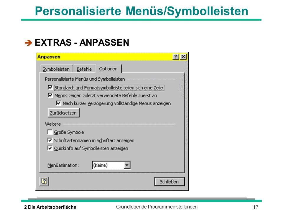 Personalisierte Menüs/Symbolleisten