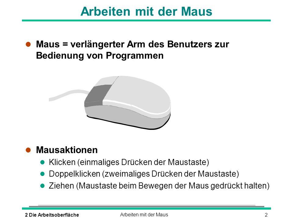 Arbeiten mit der Maus Maus = verlängerter Arm des Benutzers zur Bedienung von Programmen. Mausaktionen.