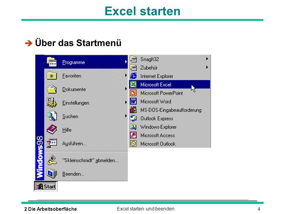 Excel starten Über das Startmenü 2 Die Arbeitsoberfläche