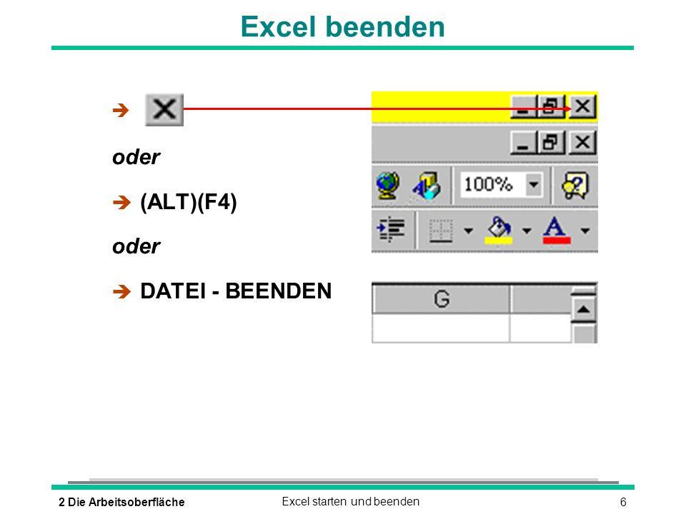 Excel beenden oder (ALT)(F4) DATEI - BEENDEN 2 Die Arbeitsoberfläche