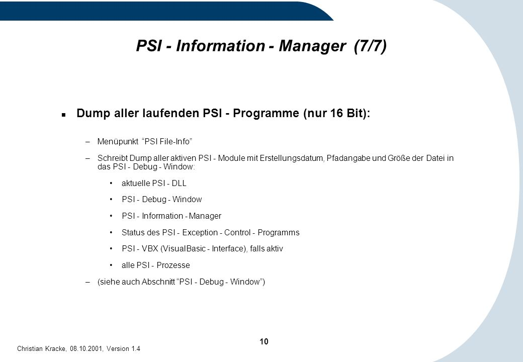 PSI - Information - Manager (7/7)