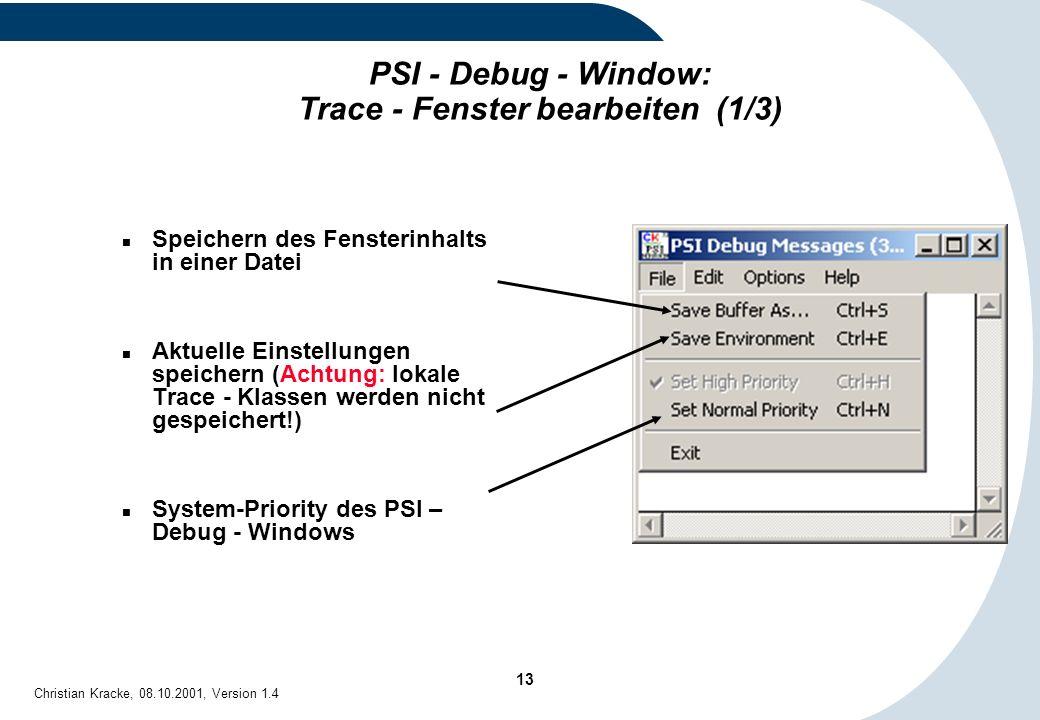 PSI - Debug - Window: Trace - Fenster bearbeiten (1/3)