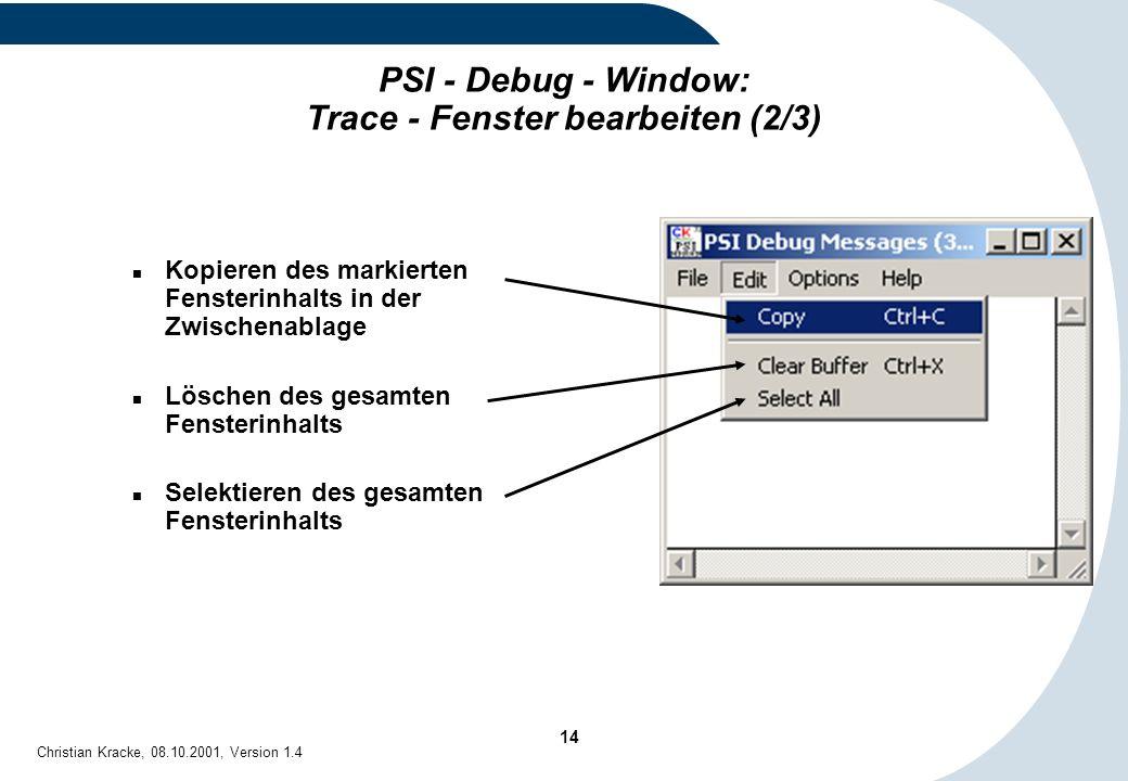 PSI - Debug - Window: Trace - Fenster bearbeiten (2/3)