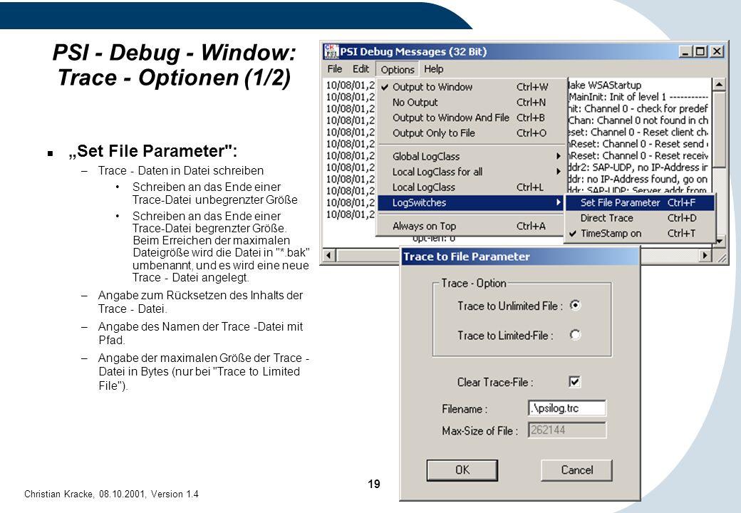 PSI - Debug - Window: Trace - Optionen (1/2)