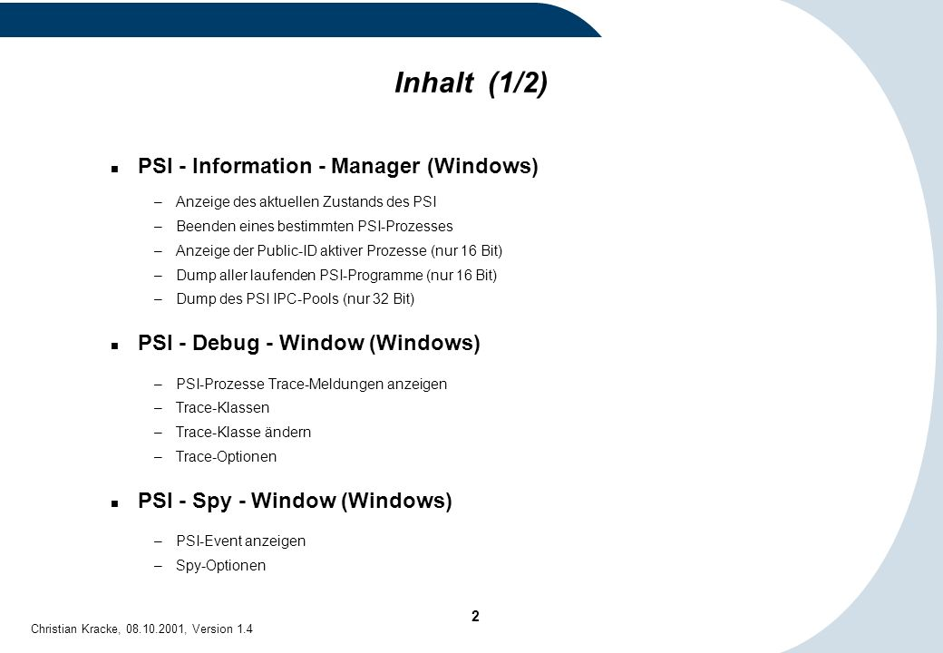 Inhalt (1/2) PSI - Information - Manager (Windows)
