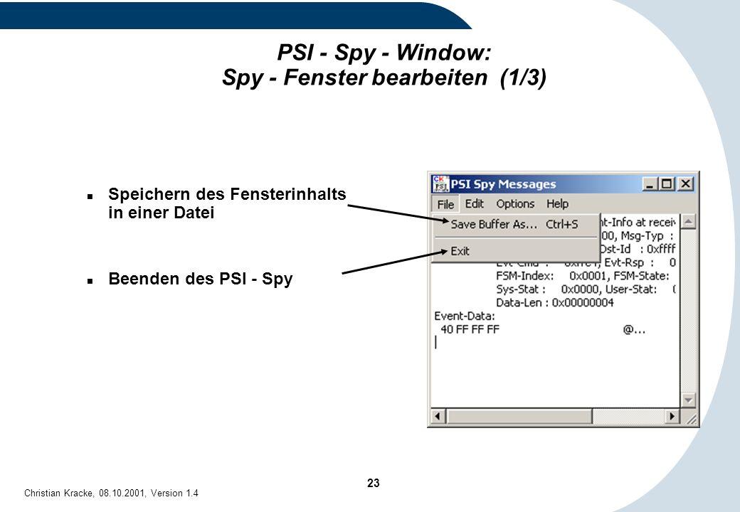 PSI - Spy - Window: Spy - Fenster bearbeiten (1/3)