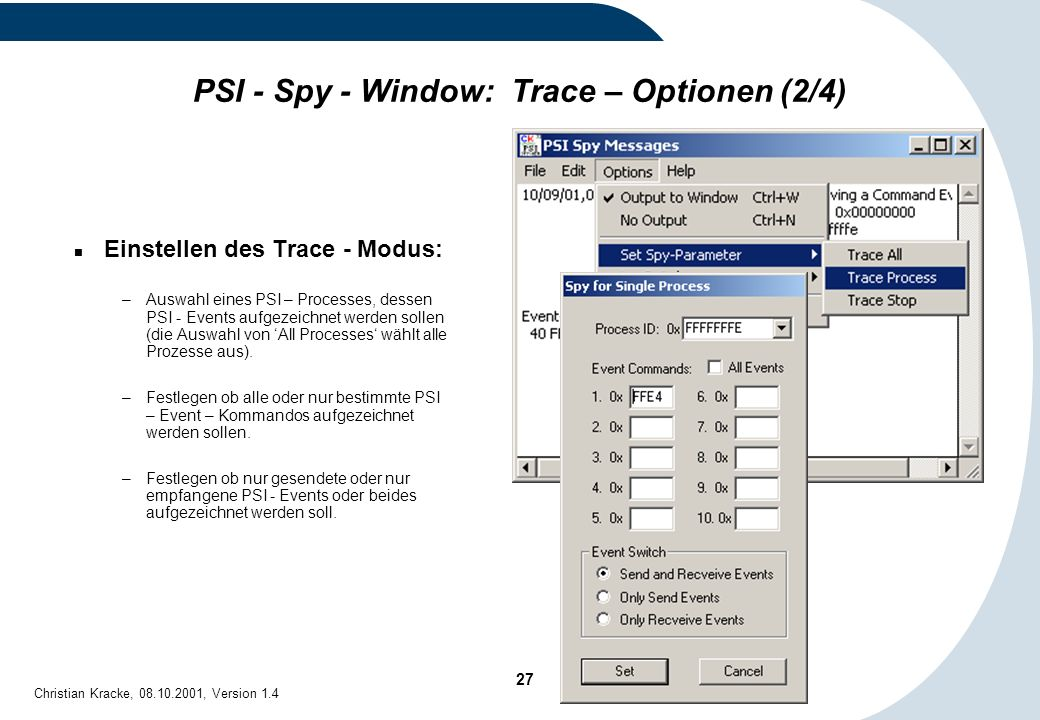 PSI - Spy - Window: Trace – Optionen (2/4)