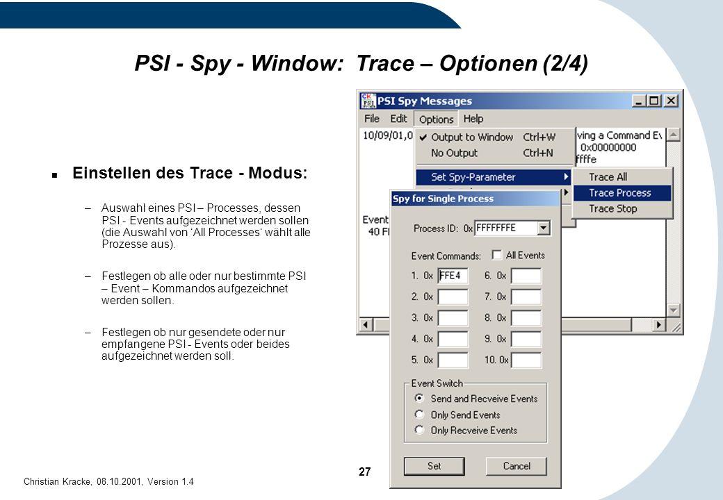 PSI - Spy - Window: Trace – Optionen (2/4)