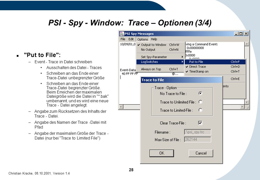 PSI - Spy - Window: Trace – Optionen (3/4)