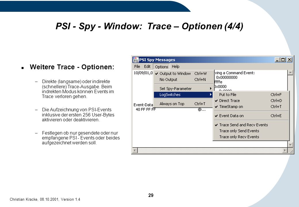 PSI - Spy - Window: Trace – Optionen (4/4)