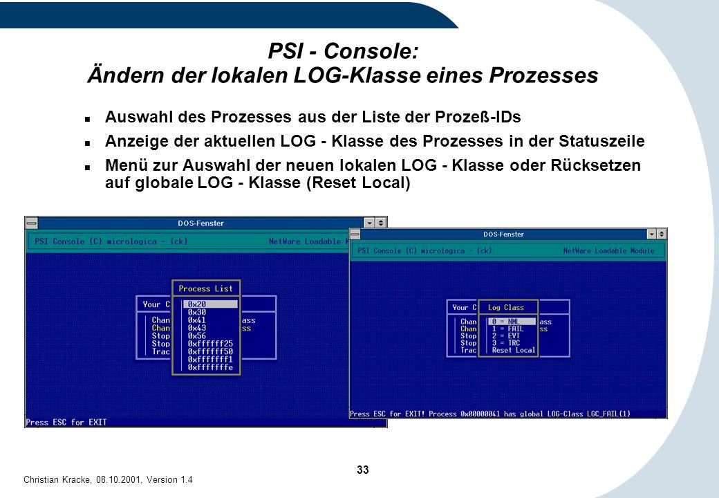 PSI - Console: Ändern der lokalen LOG-Klasse eines Prozesses