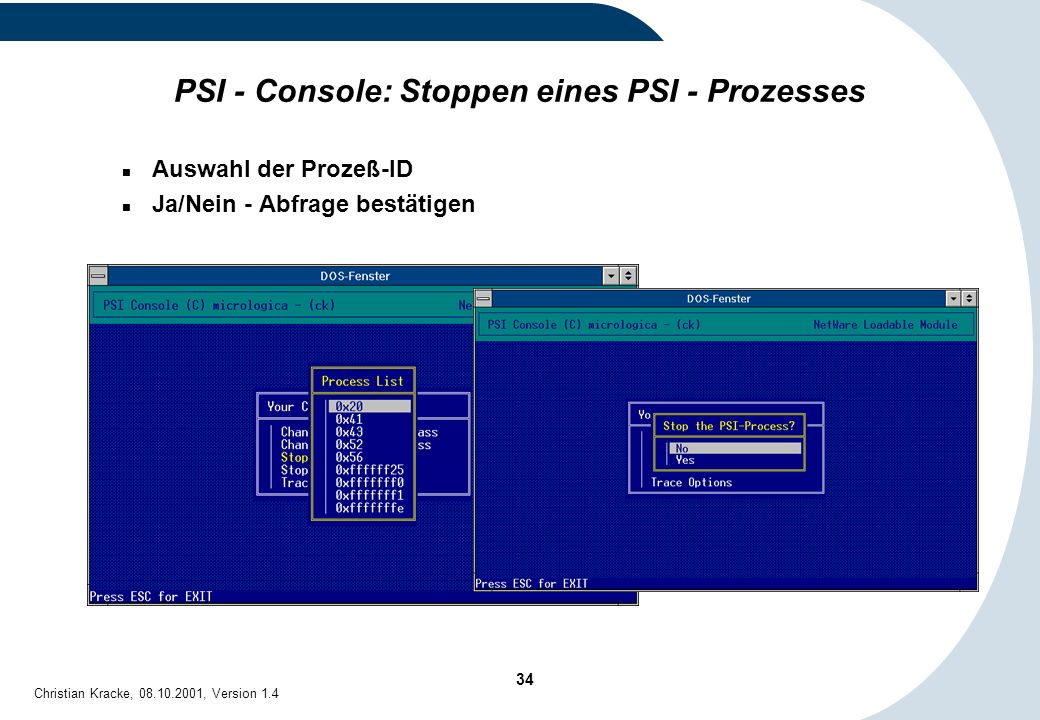 PSI - Console: Stoppen eines PSI - Prozesses