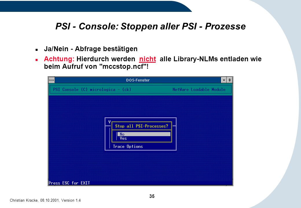 PSI - Console: Stoppen aller PSI - Prozesse