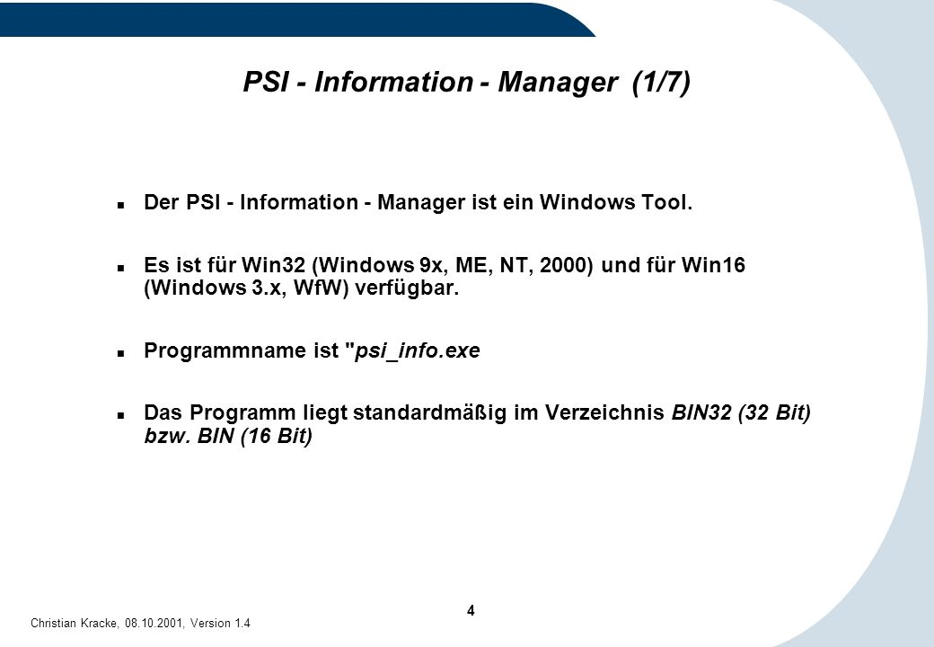 PSI - Information - Manager (1/7)