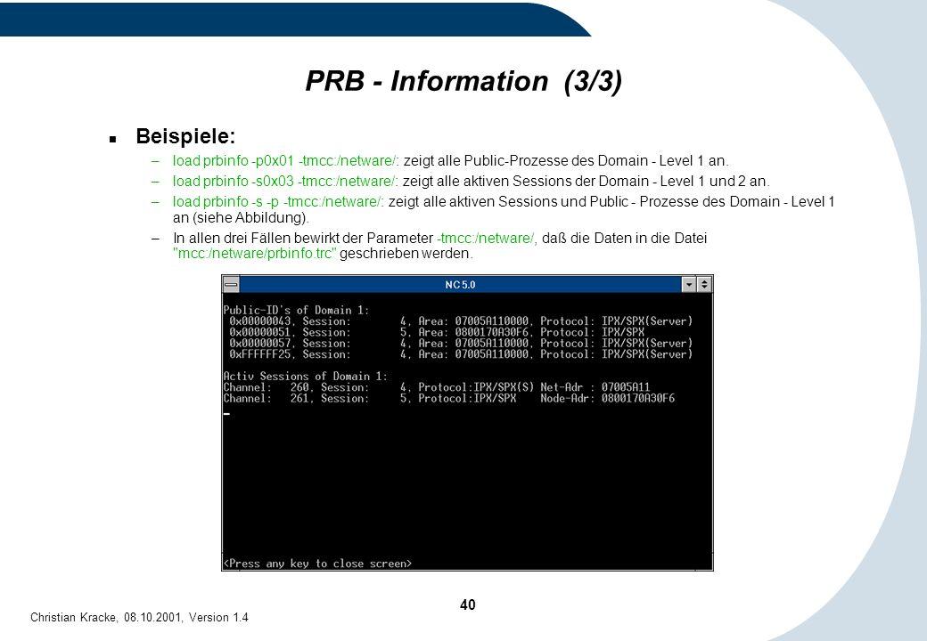 PRB - Information (3/3) Beispiele: