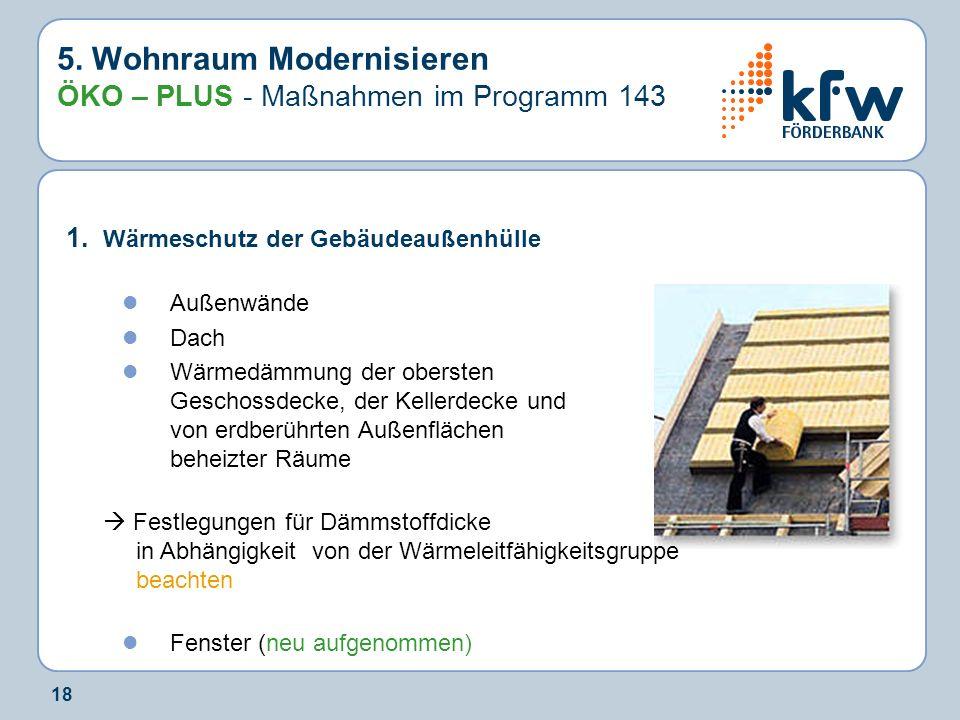 5. Wohnraum Modernisieren ÖKO – PLUS - Maßnahmen im Programm 143