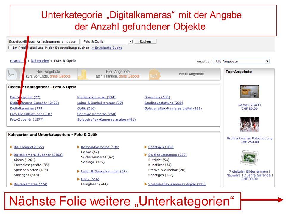 """Nächste Folie weitere """"Unterkategorien"""