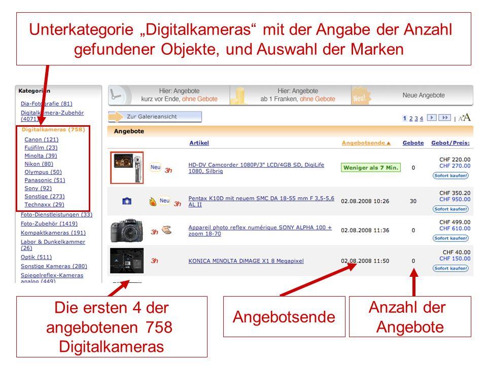 """Unterkategorie """"Digitalkameras mit der Angabe der Anzahl gefundener Objekte, und Auswahl der Marken"""