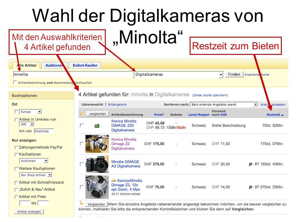 """Wahl der Digitalkameras von """"Minolta"""