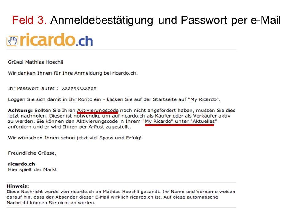 Feld 3. Anmeldebestätigung und Passwort per e-Mail