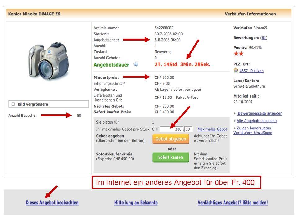 Im Internet ein anderes Angebot für über Fr. 400