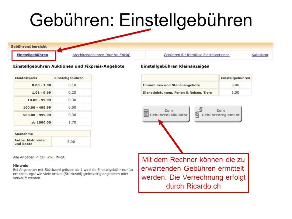 Gebühren: Einstellgebühren