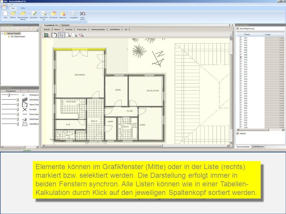Elemente können im Grafikfenster (Mitte) oder in der Liste (rechts)