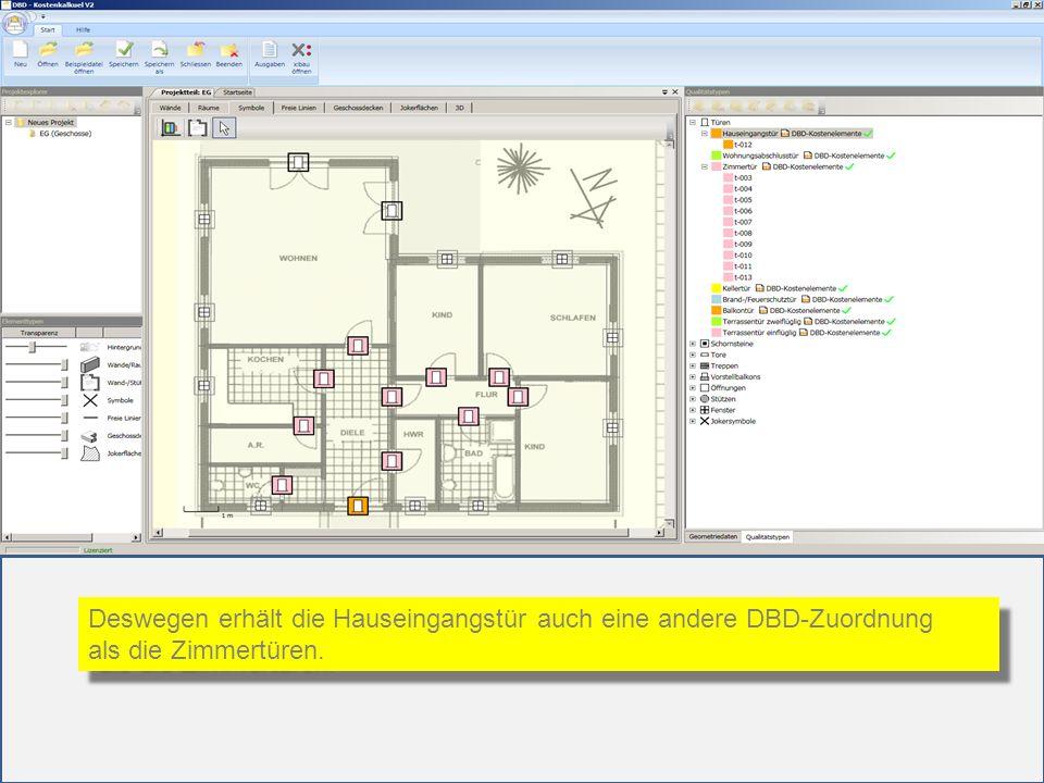 Deswegen erhält die Hauseingangstür auch eine andere DBD-Zuordnung