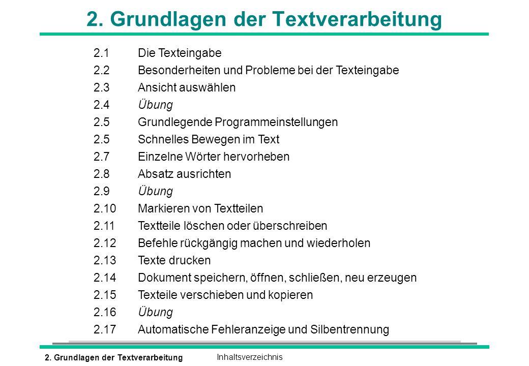 2. Grundlagen der Textverarbeitung