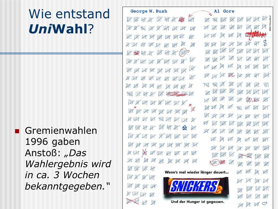 """Wie entstand UniWahl Gremienwahlen 1996 gaben Anstoß: """"Das Wahlergebnis wird in ca. 3 Wochen bekanntgegeben."""