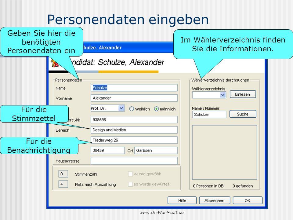 Personendaten eingeben
