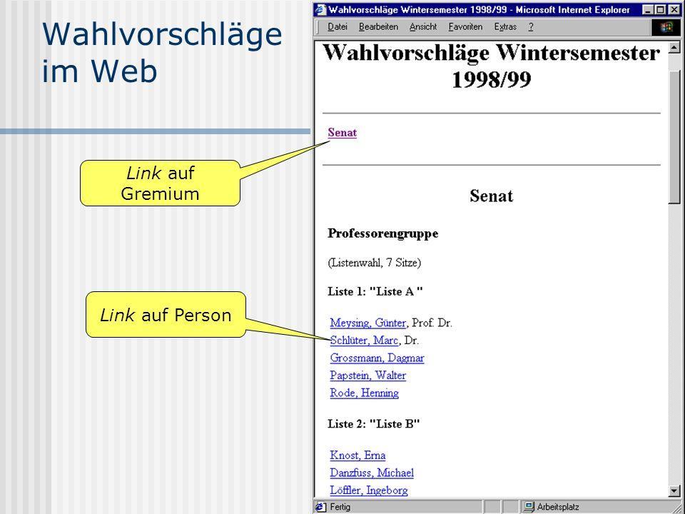 Wahlvorschläge im Web Link auf Gremium Link auf Person