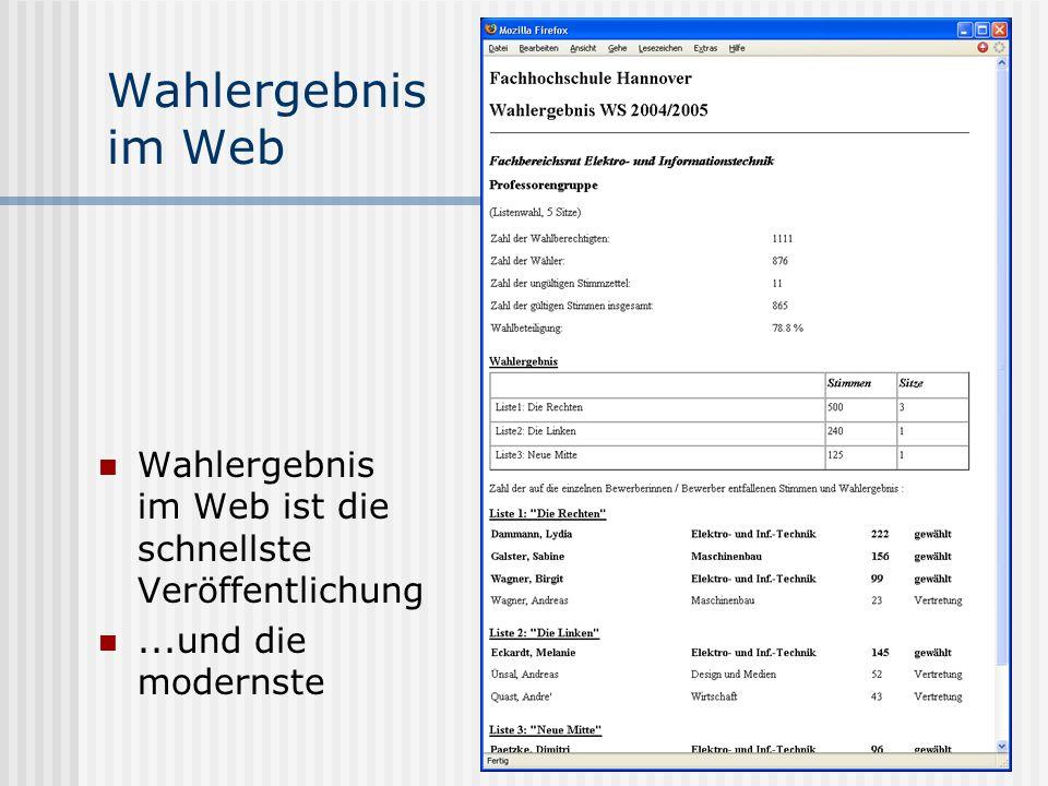 Wahlergebnis im WebWahlergebnis im Web ist die schnellste Veröffentlichung.