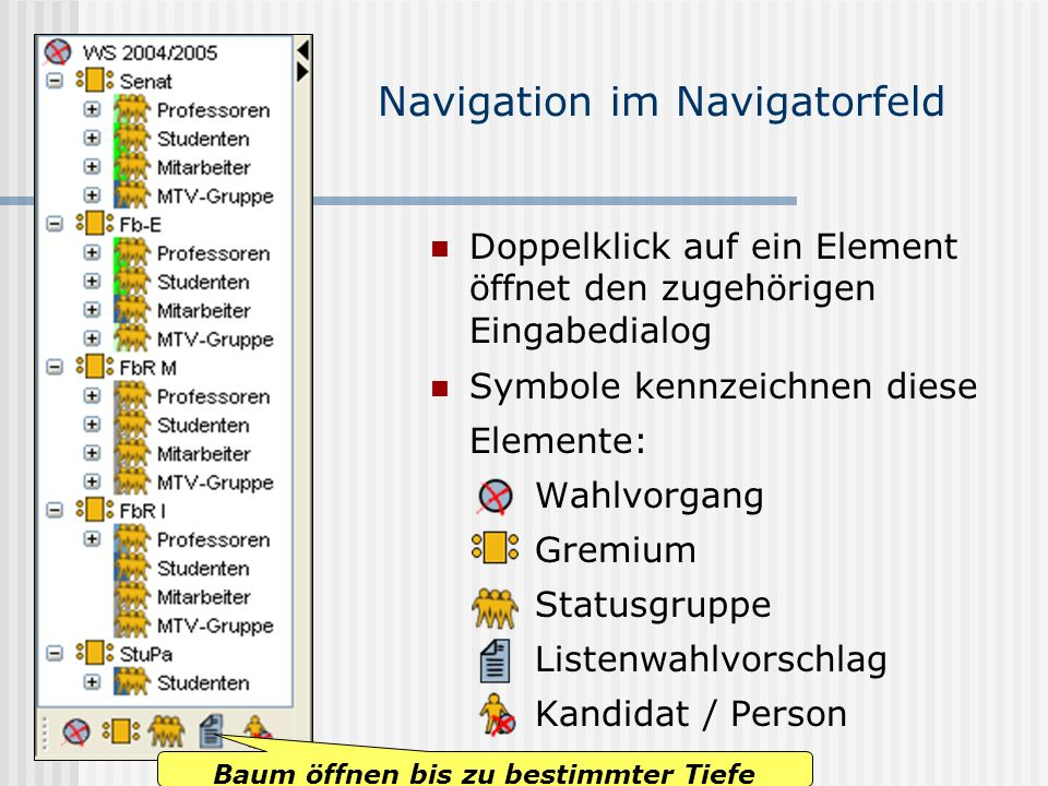 Navigation im Navigatorfeld