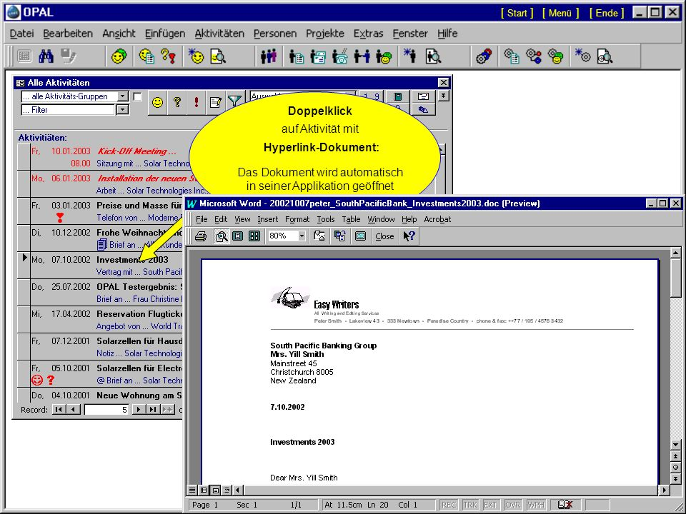Das Dokument wird automatisch in seiner Applikation geöffnet