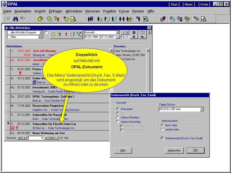 Das Menü Seitenansicht (Druck, Fax, E-Mail)