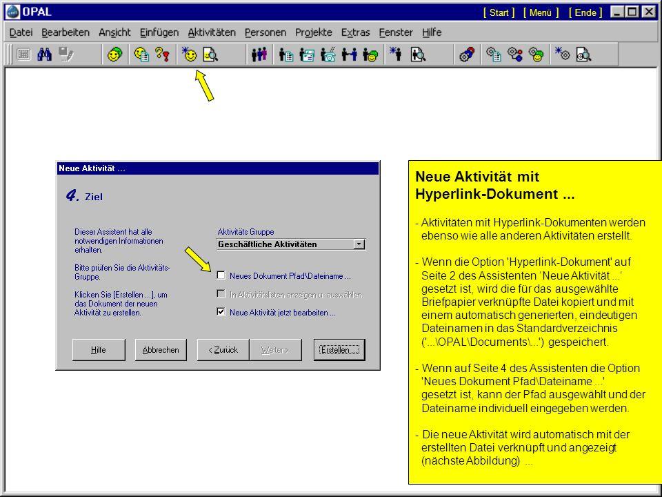 Neue Aktivität mit Hyperlink-Dokument ...