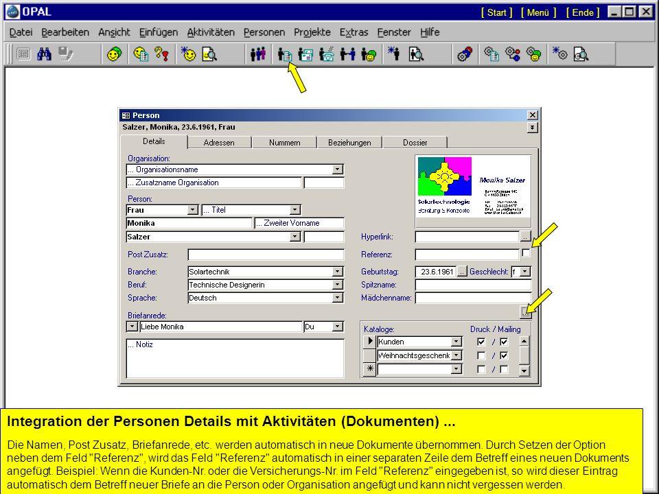 Integration der Personen Details mit Aktivitäten (Dokumenten) ...